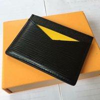 ingrosso portafoglio di plaid marrone-Porta biglietti da visita porta carte di credito in pelle nera scozzese a quadri in pelle di vacchetta nera scozzese con scatola