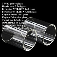 ingrosso vetro di pyrex per serbatoio pro-TF12 principe H-priv Hpriv min Berserker MTL RTA Kayfun Prime Target pro iJOY RDTA 5S Justfog Q16 Fog1 Tank Pyrex Tubo di vetro di ricambio