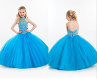 blumenmädchen kleidet blauen schein großhandel-Sparkling Light Sky Blue Blumenmädchen Kleider Backless Halter Ballkleid Tüll Puffy Pageant Kinder Kleid Personalisierte Formale Kleider für Mädchen