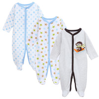 Wholesale sleeping jumpsuits - Baby bodysuit pur cotton long sleeve baby sleep romper footie jumpsuit boys girls pajamas pack of 3