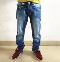 çamaşır suyu mavisi toptan satış-Ağartılmış Mavi Düz Kot Hommes GERÇEK Denim Pantolon DİNLER Cep Deisgn Moda Marka Kot Erkek Fit Hip Hop Kot