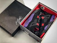 Wholesale best shoes for christmas for sale - Group buy Best Authentic Drake NRG Raptors S IV Basketball Shoes Sneakers For Men Black Purple Red AQ3816 With Original Box