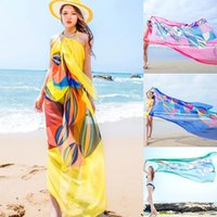 9d458e50b6 Scarves Sexy Woman Summer Chiffon Pareo Geometrical Design Print Swimsuit  Beach Cover Up Sarong Dress Ladies Hijab Wrap Scarf 140x190cm
