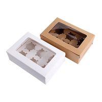 ingrosso imballaggio eco friendly cupcake-10 pezzi scatole di cupcake vuote scatola di carta kraft marrone bianco regalo di imballaggio per il partito di festival di nozze 6 titolari di torta di tazza su misura