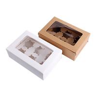 braune hochzeitsboxen großhandel-10 Stück Windowed Cupcake Boxen Weiß Braun Kraftpapier Box Geschenk Verpackung für Hochzeit Festival Party 6 Cup Kuchen Inhaber angepasst