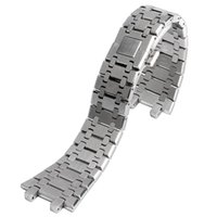 Wholesale Replacement Spring - 28mm Wrist Band Strap Solid Link Stainless Steel Bracelet Silver For AP Watch Push Button Replacement Men + 2 Spring Bars