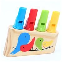 flauta silbato al por mayor-Rainbow Panpipe Wooden Toy Birds Whistle Flute Musical Educativo Niños Niños Kindergarten School Material didáctico