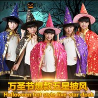 Wholesale cloak cape costume child for sale - Halloween Cloak Christmas Clothes Length Cloak kids halloween costumes Necromancer Witch Prince Princess Cape Gifts for children