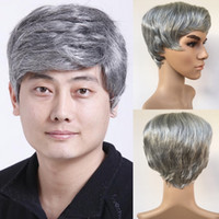 Wholesale Grey African Lace - Fashion Mens Male Wig Handsome Vogue Short Light Grey Straight Wigs For African American Full Wigs None Lace Hair In Stock Y demand