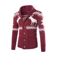 herrenbekleidung pullover groihandel-Deer Animal Print Design-Herren-Weihnachten Pullover Cardigan Strick Oberseitenoberbekleidungt Mann dünne Oberseiten Einreiher Pullover Herrenkleidung