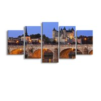 Wholesale Tower Canvas Art - HD Printed 5 piece Castle Tower Bridge France River Painting room decor posters and prints art Free shipping HL-004
