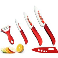 """Wholesale traditional chinese painting flowers - Hot FINDKING High Quality Red Flower Painted Zirconia Ceramic Kitchen fruit Knife Set Kit 3"""" 5"""" 6'' inch + Peeler+Cove"""