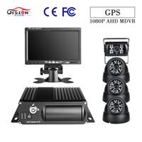 moniteur de caméra de camion achat en gros de-GISION 4CH GPS 1080P véhicule mobile DVR avec 4Pcs AHD 2.0MP caméras 7inch moniteur G-capteur pour enregistreur de surveillance de camion