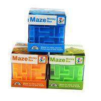 магия денежный ящик оптовых-Money Box головоломки пластиковые кубические деньги Maze Bank сохранение монет коллекция Case прохладный Лабиринт дизайн Money Bank специальный подарочная коробка Magic Cube
