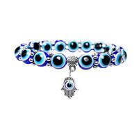 kleine silberne perlen großhandel-Handgefertigte blaue verstellbare Perlenarmband Stretch kleine Anhänger Lucky Evil Eye Fatima Hand Anhänger Gummiband Männer / Frauen Schmuck G377S