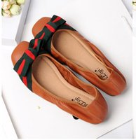 Wholesale simple ladies flat shoes - Women Flats Fashion brand Ballet fold yoga luxury Boutique Bow Soft ladies Simple Genuine Leather Pregnant women home casual shoes