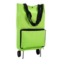 ingrosso ruote di carrello di shopping-LJL Shopping portatile con ruote Carrello pieghevole Grocery Green