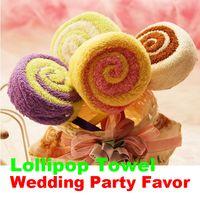Wholesale Party Favor Washcloths - Wholesale- Washcloth Towel Gift Lollipop Towel Bridal Baby Shower Wedding Party Favor