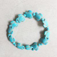 18mm weiße perlen großhandel-Geschnitzte Sea Howlith Schildkröte Perle Stein Charme Armbänder Schmuck 14 * 18mm Weiß Blau Mix Turquoises Schildkröte Armbänder mit Anpassen