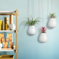 """Wholesale wholesale white ceramic vase - Pack of 3 Oval Small Pots 2.5"""" White Ceramic Planters Holders for Air Plants Wall Hanging Vase for Indoor Plants Flowers Ceramic Ornaments"""