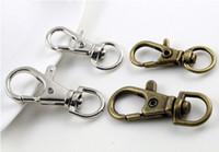 Wholesale key ring split bronze - 80pcs Silver bronze Plated Metal Swivel Lobster Clasp Clips Key Hooks Keychain Split Key Ring Findings Clasps Making 30mm