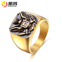 Gold Color stainless steel Men's Ring Punk the America Military badge Rings for men Vintage Hip Hop Fashion Jewelry Ring Wholesale