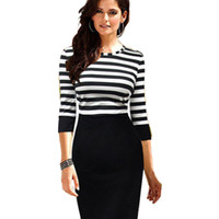 New Fashion Women Autumn Work Patchwork Stretch Tunic Dress Half Sleeve  Stripe Business Casual Office Formal Pencil Dress Women 705910b9e