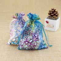 mavi şeker poşetleri toptan satış-100 Adet Mavi Mercan Moda Organze Takı Hediye Kılıfı Çanta 7x9 cm İpli Çanta Organze Hediye Şeker Çanta DIY Hediye Çanta