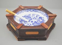Wholesale Wooden Dragons - Solid wood ashtray wooden latest wood creative personality hexagonal blue and white porcelain dragon inlay luxury gifts