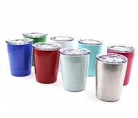 Wholesale Stainless Steel Travel Mug Cup - Wine Glasses Stainless Steel Tumbler 8.5oz Cups Travel Vehicle Beer Mug Non-Vacuum Mugs With Straws&Lids 50PCS