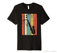 dessins de chemises pour hommes achat en gros de-Mâle Conception T-shirt Design Col Rond Distressed Vintage Saxophone Ténor T-Shirt À Manches Courtes T-shirts Pour Hommes