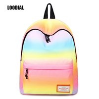 Wholesale korean laptop bags for women - Loodial irls school bags korean gradient color waterproof laptop backpack women cute school backpacks for teenage girls