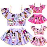 Wholesale girls character swimwear online - surprise girls rainbow swimwear suit childrens floral printed tops lutos leaf bow pants two piece sets Swim Wear Beachwear KKA5702