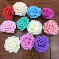 fleurs en mousse achat en gros de-9 Couleurs Diamètre 8 cm Émulation Rose Tête Artificielle Rose Fleur Mousse Fleur Pour Mariage Décorations De Mariée Accessoires
