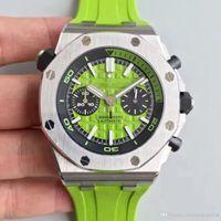 8820884d2cc Relógio de Mens luxo ROYAL Correia De Borracha Verde Automático Importado  Mecânica Delicado Caso de Aço Transparente de Volta réplica relógio homens  relógio ...