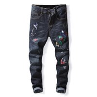 ingrosso pantalone jeans cinese-Jeans da uomo di marca nuova moda in stile cinese patchwork ricamo a motivi animali pantaloni lunghi slim jeans economici per gli uomini