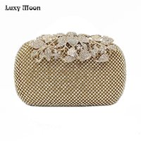 Wholesale Peacock Diamond Ring - 2016 Luxury Diamond Gold Evening Bags Peacock Silver Clutch Crystal beaded Evening Clutch rings wedding party purse w326