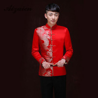 kırmızı çince elbiseleri toptan satış-Kırmızı Geleneksel Çin Giyim Erkekler Düğün Için Antik Kostüm Cheongsam Üst Uzun Kollu Çin Tunik Suit Erkek Giysileri