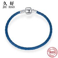 marineblaue silberne armbänder großhandel-Sterling Silber 925 Navy Blue Geflochtene Reize Echtleder Armband Schnalle Weave Charme für Schmuck machen