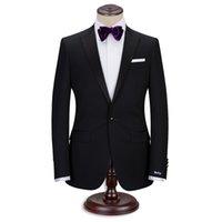 ingrosso legami su misura-Completo da uomo realizzato in smoking da sposo, completo di pantaloni e cravatta. Completo in nero. Su misura per il matrimonio realizzato da sarto con ricamo a mano