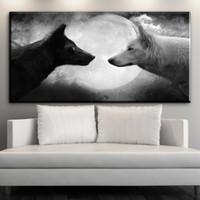 siyah beyaz yağ sanatı toptan satış-Modern tuval sanat siyah kurt VS beyaz kurt ay gece tuval resimleri oturma odası yatak odası için hayvan yağlıboya sanat duvar Yok çerçeveli