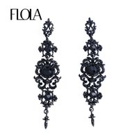 candelabros vintage al por mayor-FLOLA Vintage Black Earrings with Stones Long Chandelier Drop Earrings Gothic Fashion Jewelry para Mujeres ersk02