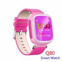 teléfonos de banda cuádruple al por mayor-Q80 Kids LBS Tracker Niños Smart Watch Teléfono SIM Cuatribanda GSM Safe SOS Llame PK Q50 Q90 Para Android IOS reloj inteligente