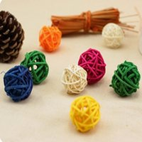 ingrosso decorazioni di paglia di natale-Weave Straw Ball Squisita FAI DA TE Colorful Christmas Artificial Rattan balls wedding decorations Display Window Pendant Kids Toys 1yt5 UU