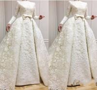 müslüman gelinler için gelinlikler toptan satış-2019 Zarif Uzun Kollu Dantel Müslüman Gelinlik Ile A-line Aplikler Artı Boyutu Yay Gelin Gelinlikler Vestido De Novia Gelin Elbiseler