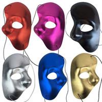 máscaras faciales de ópera fantasma al por mayor-Máscara de la mitad de la cara fantasma de la noche Opera Hombres Mujeres Máscaras Fiesta de disfraces Máscaras de la bola enmascarada de Halloween suministros festivos
