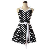 vestidos de pinafore venda por atacado-Eco-Friendly Querida Polka Dot Retro aventa Mulher Cotton Cooking Salon Avental De Cozinha Divertido Pinafore Avental Vestido