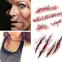 Wholesale blood makeup for sale - Group buy Hot sale Halloween Zombie Scars Tattoos With Fake Scab Bloody Makeup Halloween Decoration Wound Scary Blood Injury Sticker