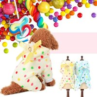 Wholesale pajamas for dogs - Soft Pets Coat For Autumn And Winter Keep Warm Dog Pajamas Washable Round Dot Pattern Puppy Clothes Durable 12tt B