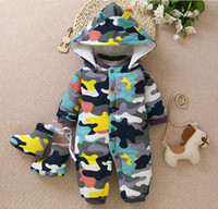 Wholesale hooded animal jumpsuit for babies resale online - NEW Baby Rompers Winter Thick Warm Newborn Jumpsuit Long Sleeve Hooded Baby boy Clothing Kids Infant Outwear for M